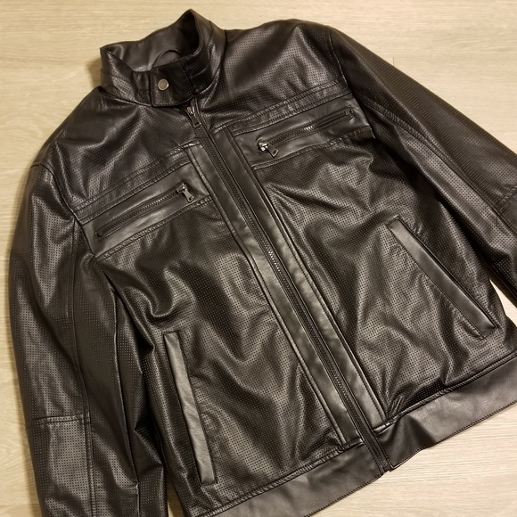 Brown, Medium INC International Concepts Faux Leather Varsity Zip Up Jacket